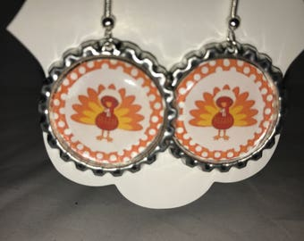 Thanksgiving turkey dangle earrings//turkey earrings//thanksgiving jewelry/turkey//thanksgiving hostess gift