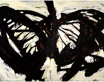IRON BUTTERFLY, Butterfly Painting, Black and White, Big Wall Art, black white, Large Canvas Art, Black Butterfly,In-A-Gadda-Da-Vida
