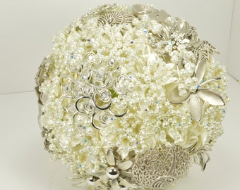 Brooch Wedding Bouquet with Swarovski Crystals and Pearls