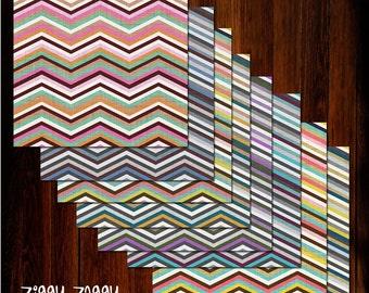 "Ziggy Zaggy Digital Scrapbook Paper Pack (12x12""-300 dpi) - 8 Digital papers"