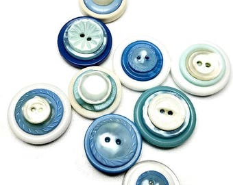 Baby Blue Magnets, Blue Magnet Set, Repurposed Vintage Buttons, Cute Gift Idea