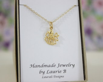 Octopus Charm Necklace, Friendship Gift, Gold, Bestie Gift, Gold Octopus Charm, Thank you card, Sea Life Charm, Yellow Octopus, Beach Charm
