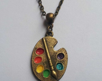 Bronze Artist Palette Necklace , Bronze Necklace , Artist Necklace , Multicolour Necklace , Artist Gift , Painter Necklace , Handmade Gift