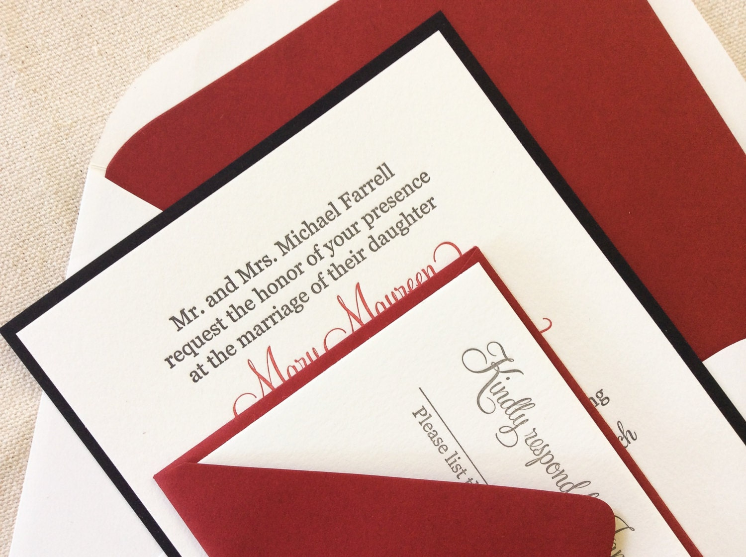 The Red Rose Suite Classic Letterpress Wedding Invitation