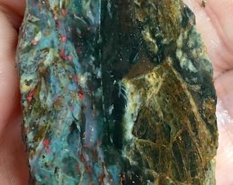 Clear Creek, CA Plasma Agate Slab with Cinnabar