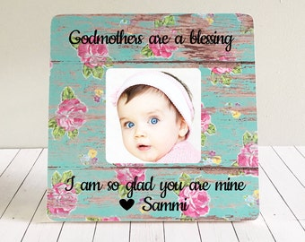 ON SALE  Godmother Frame Godmother Gift Godfather Godparents   Baptism Goddaughter gift Christening  Gift Personalized Picture Frame