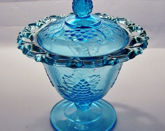 Indiana Glass - Mid Century Vintage Blue, Lace Edge, Lidded Compote, Harvest Grape Pattern