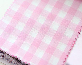 Light Pink Plaid Cotton Fabric By the Yard 50833