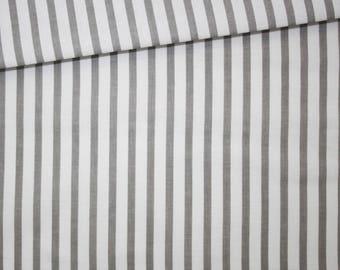 Tissu rayures grises et blanches, 100% coton imprimé 50 x 160 cm, motif rayures gris et blancs
