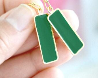 Emerald Green Long Earrings - Gold Enamel Jewelry