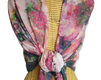 Wild Roses Red Organic Cotton Scarf