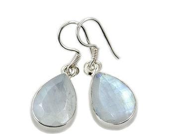 Teardrop Earrings - Rainbow Moonstone Earrings - Sterling Silver Dangle Earrings AF987 gift jewelry