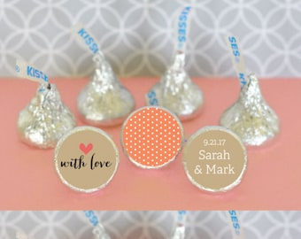 Bridal Shower Hershey® Kiss Labels Candy Kisses Stickers Wedding Chocolate Kisses Personalized Hesheys® Kisses 108 PRINTED labels (EB4003T)