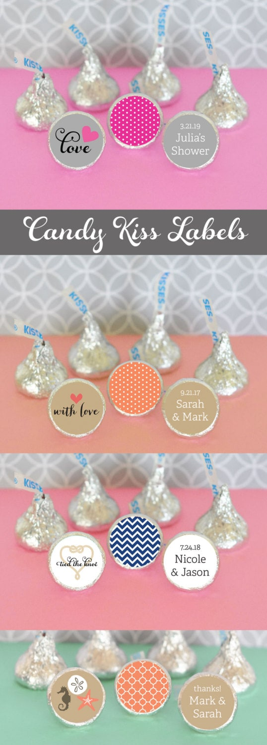 Bridal Shower Hershey® Kiss Labels Candy Kisses Stickers