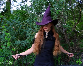 The Plum Witch or Wizard ~ Purple Suede Witch or Wizard Hat