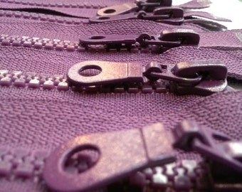 5 Molded Plastic Zippers 19 Inches 5mm SEPARATING Purple - (5 zippers)