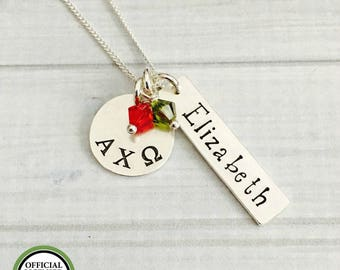 Alpha Chi Omega Necklace - Alpha Chi Omega Jewelry - Sorority Lavalier Necklace - Big Sis Little Sis Sorority Jewelry