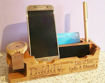 Personalised Men's Valet Stand, Father's Day, Gadget Gift, Phone Stand, Phone and Watch Stand, Docking Station