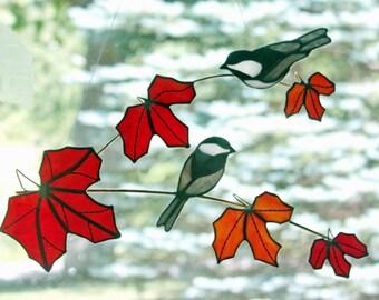 Stained Glass Chickadees Suncatcher, Branch with Red Leaves, Chickadee Bird, Stained Glass Birds, Glass Art, Wildlife Art, Bird Lovers Gift