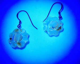 Florescent flower Amber earrings