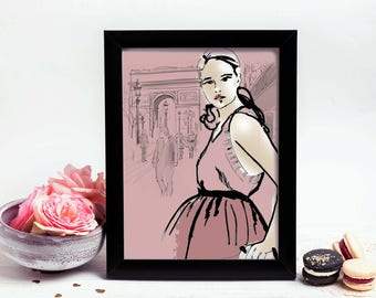 Chloe in Paris, France, Fashion Illustration, print, poster,