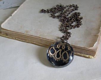 Victorian Tatting Glass Necklace OOAK Jewelry