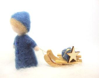 Child with sledge , Wool Needle Felt Miniature , Waldorf Art, Home Decor ,  Nature Table