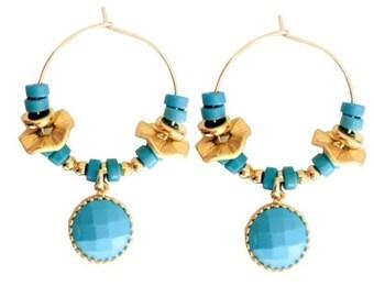 turquoise earrings, hoop earrings, gold plated hoop turquoise, turquoise beads earrings, Turquoise Jewelry, women gift