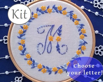 monogram Embroidery pattern , needlework kit , DIY nursery decor , gift for crafter,  baby shower , modern embroidery kit,