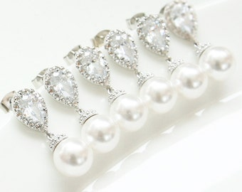 10% OFF, Bridesmaid gifts, Set of 7,8,9,10, White Pearl Earrings, Swarovski pearl earrings, White pearl CZ earrings, Wedding pearl earrings,