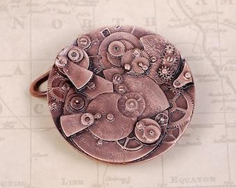 Steampunk Belt Buckle - Steampunk Buckle - Clockwork Buckle - Copper Buckle - Gear Buckle