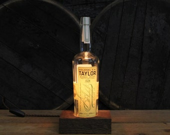 Bourbon Bottle Desk Lamp / Colonel E.H. Taylor Barrel Proof Whiskey Bottle Light / Reclaimed Wood Base, Edison Bulb, Bourbon Gift, Bar Lamp