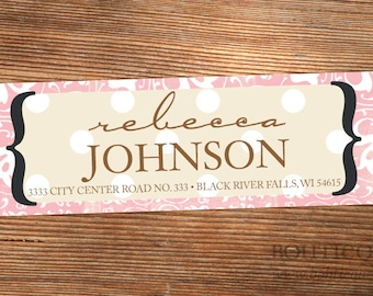 Crazy Day Damask Personalized Return Address Label with Color Choices