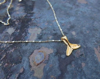 Whale Tail Necklace in Gold and Silver