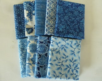 Country Manor Blue Colorstory Fat Quarter Bundle by Darlene Zimmerman for Robert Kaufman. 9 fat quarters from Darlene's fabric stash.