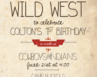 Cowboys and Indians Birthday Party Invitation RESERVED