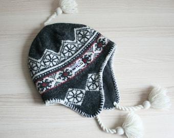 Fair isle wool hat Shetland Pom pom beanie Winter fair isle cap Fair isle beanie Warm beanie Fair isle skull cap Gray beanie Christmas gift