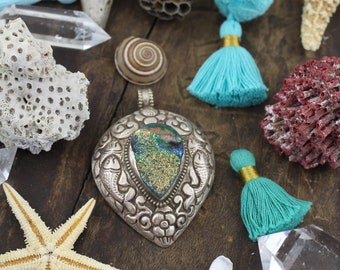 Druzy Teardrop 2 : Sterling Silver Aqua Royal Blue Druzy Pendant Handmade Nepali Sparkly Focal Boho Pendant, Fashion Jewelry, Gift for Her