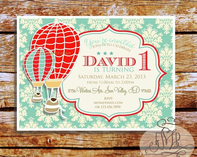 Printable invitations - hot air balloon invitation - vintage hot air balloon - Freshmint Paperie