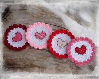 Set of 4 - Heart Coasters, Valentine Decor, Primitive Hearts, Country Kitchen, Shabby Farmhouse, Cottage Chic, Candle Mat, Mug Rug, OFG FAAP