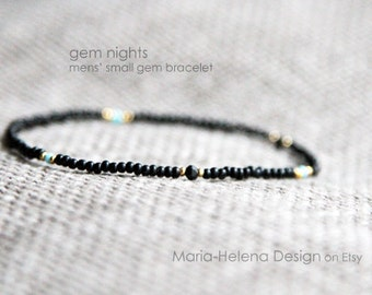 gem nights mens bracelet - mens small gem bracelet black - MariaHelenaDesign