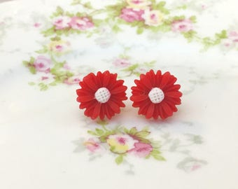 Red Gerbera Daisy Flower Stud Earrings with White Center and Surgical Steel Posts KreatedByKelly