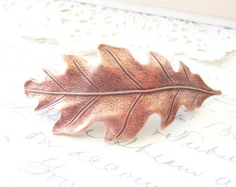 Golden Copper Oak Leaf Hair Barrette - Oak Leaf Barrette - Woodland Hair Accessory - Whimsical - Nature - Bridal Hair
