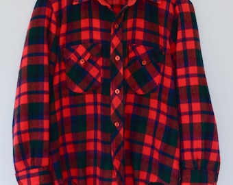 Plaid Flannel Shirt | Vintage Red Plaid Men's Flannel Shirt