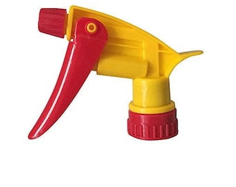 8 pk Yellow & Red Trigger Sprayers - Stream or Wide Misting Spray use for Lotion Sprays, Cleaning Products, Essential Oils, or Aromatherapy