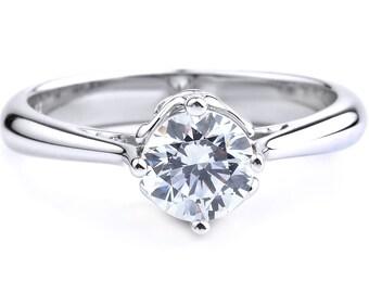 Solitaire Engagement Ring In 14K White Gold Fleur De Lis Solitaire Ring