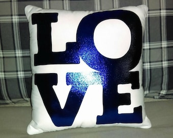 Blue Metallic Love Throw Pillow