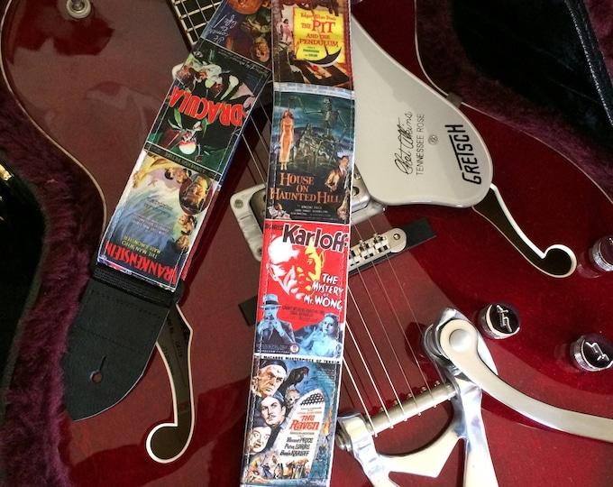 B-movie guitar strap handmade // vintage mid century horror movies // retro lo-fi schlock // cool guitar straps // unique guitar straps