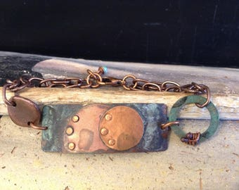 Green and Copper Patina Abstract Focal Copper Chain Bracelet!  Item B148