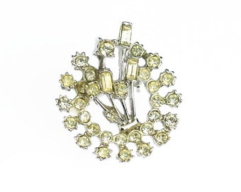 Vintage Clear Faceted Rhinestone Crystal Silver Tone Brooch Pin